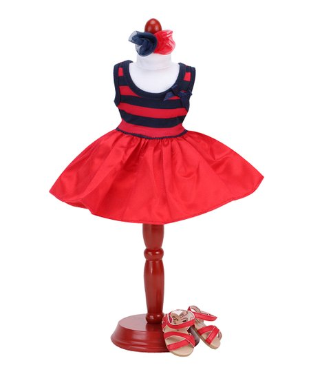 5934a148f602 love this product Red   Navy Stripe Bow-Accent Dress Outfit for 14.5   Doll