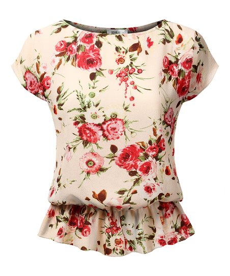 d64f6e7374277 love this product Peach   Coral Floral Peplum Top - Women