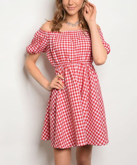bf81b39a94c6 love this product Red   White Check Off-Shoulder Dress - Women