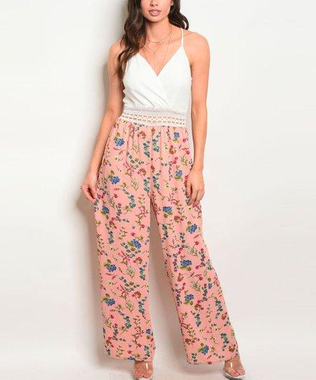 86f3a6e6f3d love this product White   Peach Floral Blouson Jumpsuit - Women