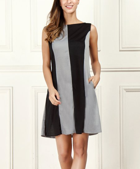 R B Black   Gray Sleeveless High-Neck Color-Block Dress - Women  058c56d171