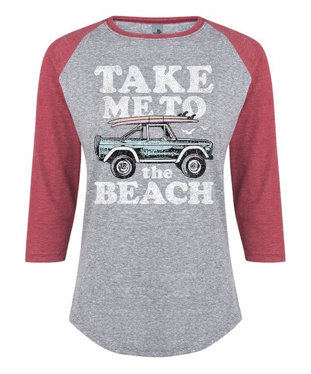b79d89b6285 Instant Message Womens Athletic Heather   Wine Take Me To The Beach ...