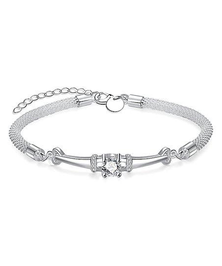 Riakoob Silvertone Rope Bracelet With Swarovski® Crystals  6293c8677