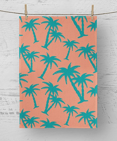 Unkown Peach & Turquoise Palm Tree Kitchen Towel | Zulily