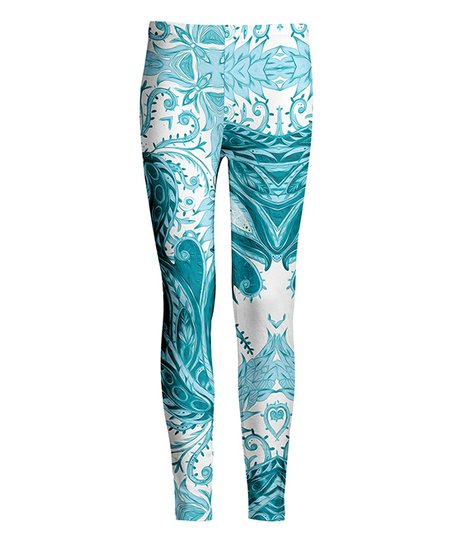 7d1394394 love this product White   Teal Geo-Floral Leggings - Plus