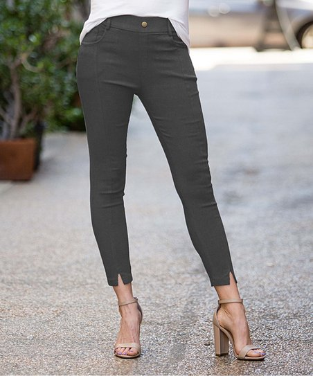 9ce1ad64973fd love this product Charcoal Front-Slit Faux-Button Pocket Jeggings - Women &  Plus