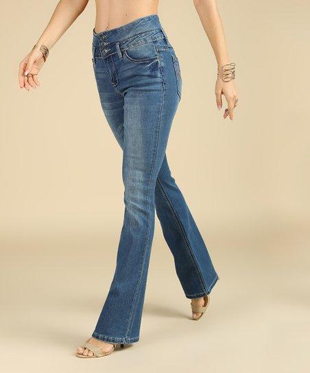 3b22f33f567035 love this product Medium Dark Wash High-Waist Bootcut Victoria Jeans -  Women   Plus