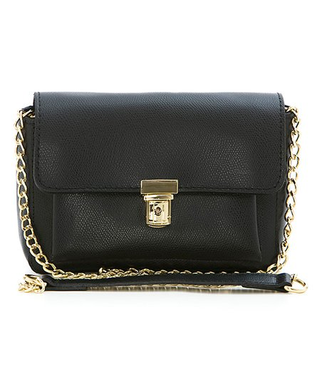50f591fc74 Keshia Black Chain-Accent Strap Leather Envelope Crossbody Bag | Zulily