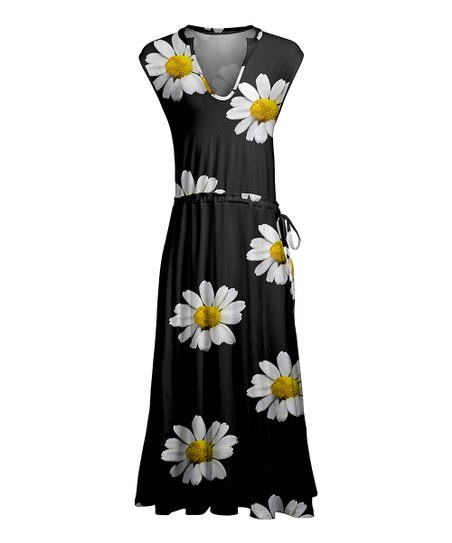 6d3e091e7 Lily Black   Yellow Daisy Tie-Waist V-Neck Maxi Dress - Plus
