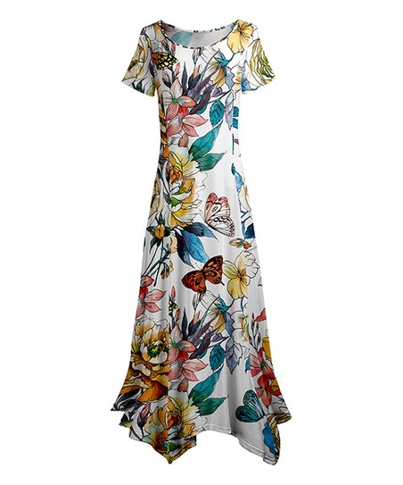 9eb661844af love this product White   Blue Floral Handkerchief Maxi Dress - Women