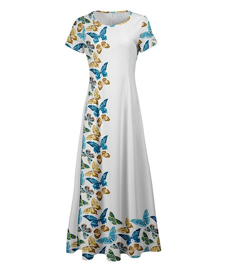 love this product White   Blue Butterfly Maxi Dress - Women   Plus 3c30e8da1e