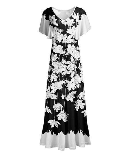 3f7ee54fae8 Lily Black   White Floral Flutter-Sleeve Maxi Dress - Women   Plus ...