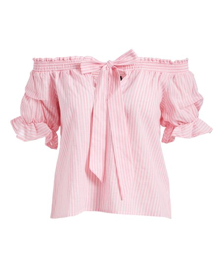0765dcc5481 Milk & Honey Pink Stripe Off-Shoulder Top - Women | Zulily