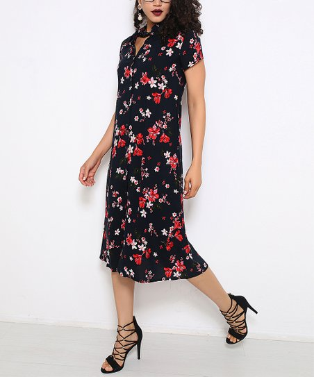 a3add7c01938 Red Queen Black Floral Button-Up Midi Dress - Women | Zulily