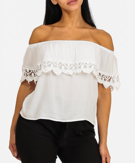 deca08fa2b6b2 love this product White Crochet-Accent Off-Shoulder Top - Women