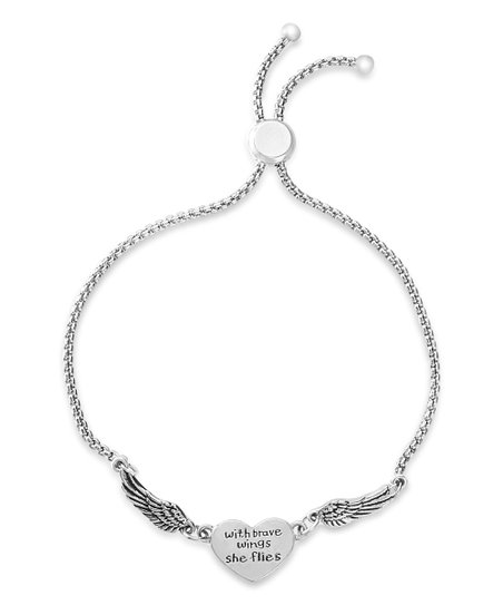 Silvertone 'with Brave Wings She Flies' Adjustable Bracelet by Willowbird