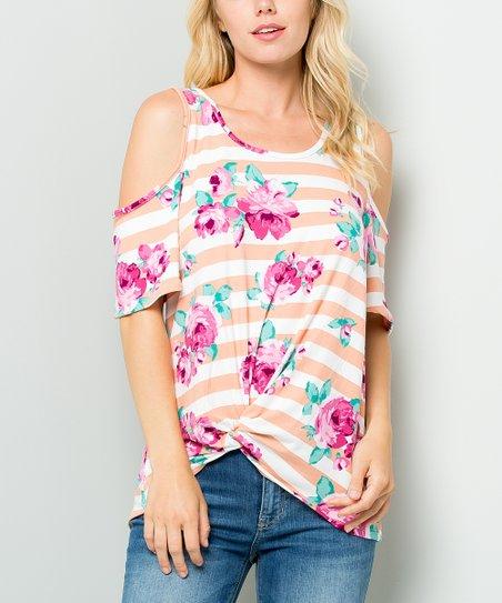 eb64c77a7099d love this product Mauve Floral Stripe Knot Cold-Shoulder Top - Women
