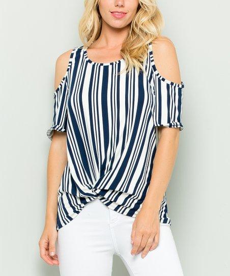 bce2e0e62a5d3 love this product Navy Floral Stripe Knot Cold-Shoulder Top - Plus