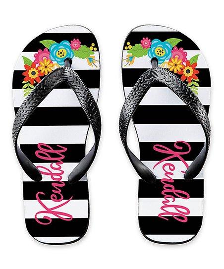 d88b7379de4cbe love this product Black   White Stripe Floral Personalized Flip-Flop - Adult
