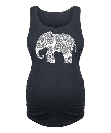 Bloom Maternity Black Henna Elephant Maternity Tank Zulily