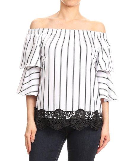 100d7d656dac4 love this product White   Black Stripe Ruffle-Sleeve Crochet-Trim Off-Shoulder  Top - Women