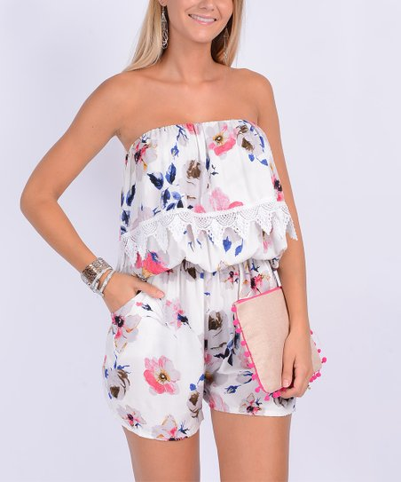 daa44e8fc0ee love this product White Floral Lace-Accent Tube Romper - Women