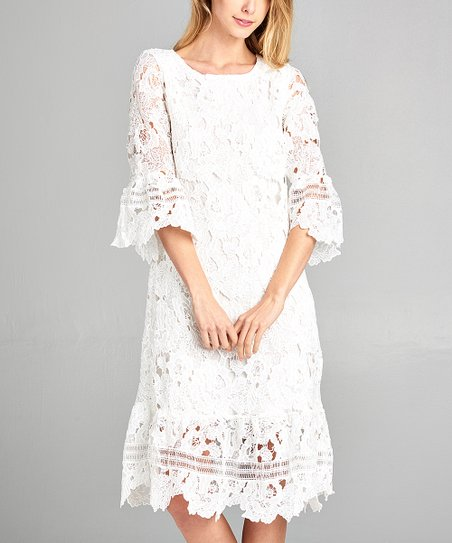 657e54bbbd2 Spicy Mix Ivory Lace Bell-Sleeve Shift Dress - Women