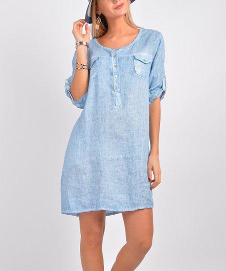 2b5b85698f8 Ornella Paris Light Blue Double Flap-Pocket Linen Button-Front Dress ...