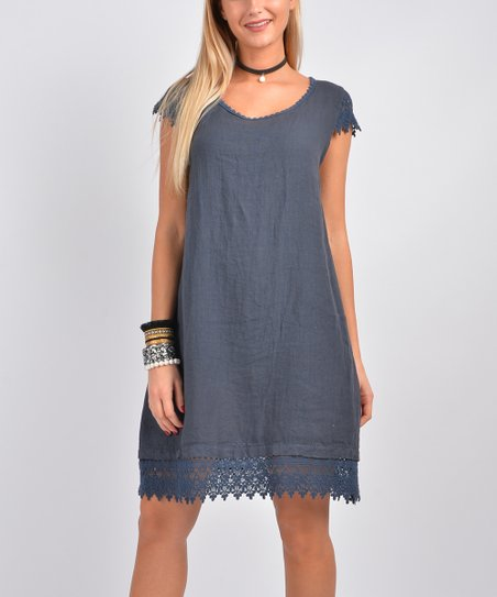 0d5552f296b love this product Navy Lace-Trim Linen Shift Dress - Women