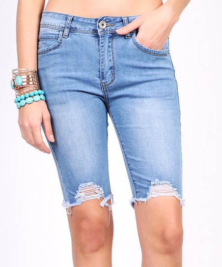 372d7e9656 Vivid New Denim Blue Fade Distressed Raw-Hem Denim Bermuda Shorts ...