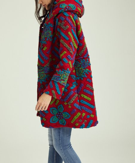ace46f4e3 Ornella Paris Wine Embroidered Wool-Blend Hooded Coat - Women