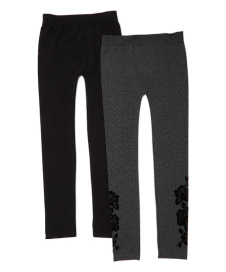092ebf1dfb7b2 Star Ride Black Floral Fleece-Lined Leggings Set - Girls | Zulily