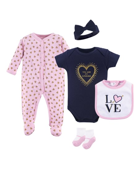fe1fa2ea2 Hudson Baby Light Pink   Navy You Are My Sunshine Five-Piece Layette ...