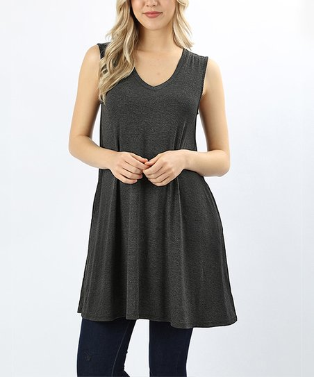 595adf0887acd love this product Charcoal Pocket Sleeveless Fit   Flare Tunic - Plus