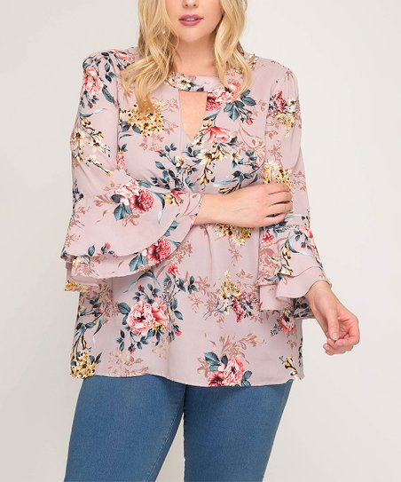 5d59b831a58 love this product Misty Pink Floral Keyhole-Cutut Bell-Sleeve Tunic - Women