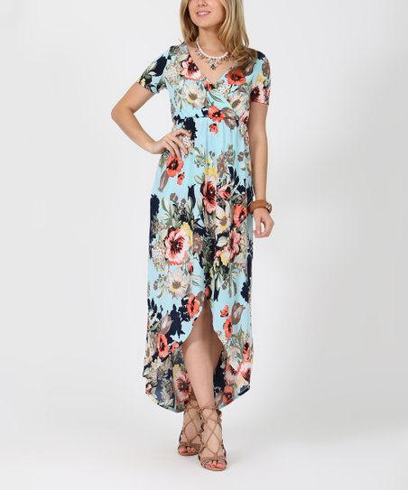 238bb1db22 42POPS Mint   Peach Floral Tulip-Hem Maxi Dress - Women