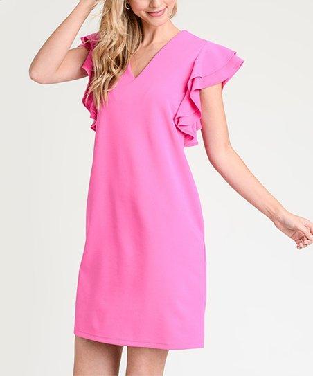 Fuchsia Ruffle Sleeve Pocket V Neck Dress Women Zulily