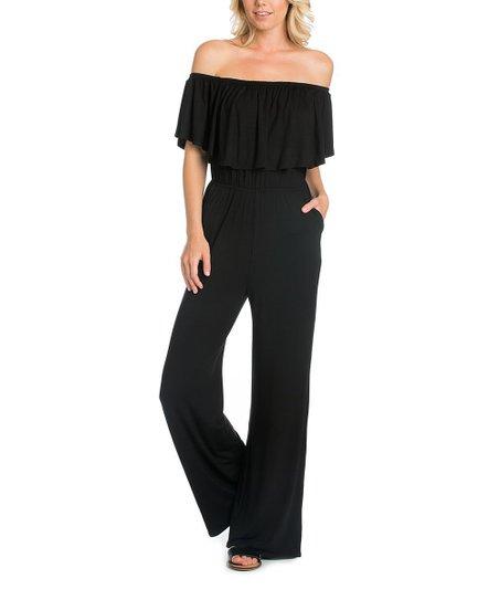 3d84988605f love this product Black Ruffle Off-Shoulder Jumpsuit - Women