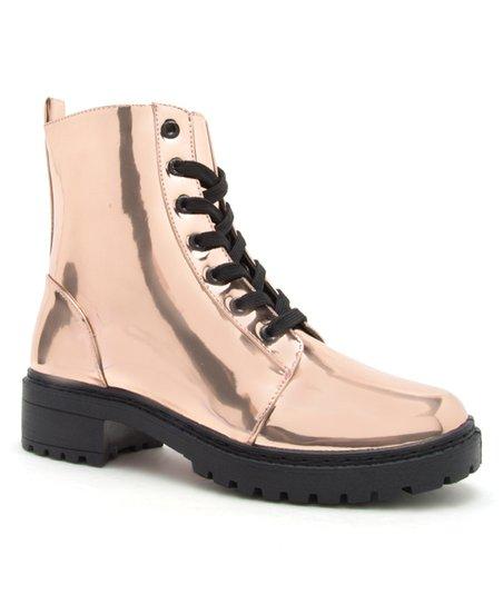 differently 9569f d4985 Qupid Rose Gold Metallic Postal Combat Boot - Women