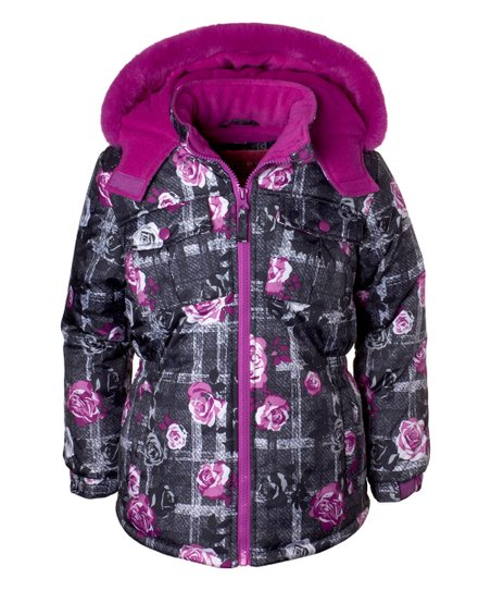 440d77754 Wippette Charcoal   Purple Floral Puffer Coat - Toddler   Girls