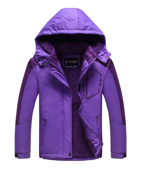 2add3ebb3 U2wear Violet   Purple Hooded Puffer Coat - Girls