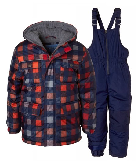 2a3e5a113424 Wippette Navy   Red Gingham Puffer Coat   Navy Snow Bib - Toddler ...