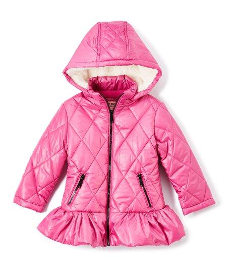 67e2937ef7df Urban Republic Bubblegum Pink Peplum Hooded Puffer Jacket - Girls ...