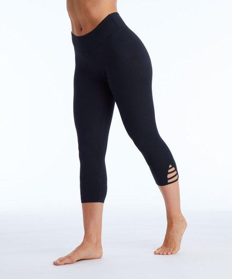 6791bb12c7381a Balance Collection Black Strappy Crop Leggings - Women   Zulily