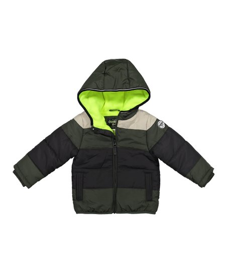 d22bb2b9b560 OshKosh Bgosh Green   Ivory Logo Bubble Puffer Coat - Infant   Boys ...