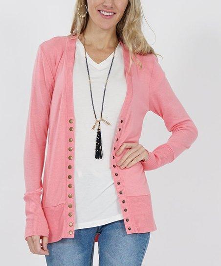 Ash Rose Long-Sleeve Snap-Button Cardigan - Plus