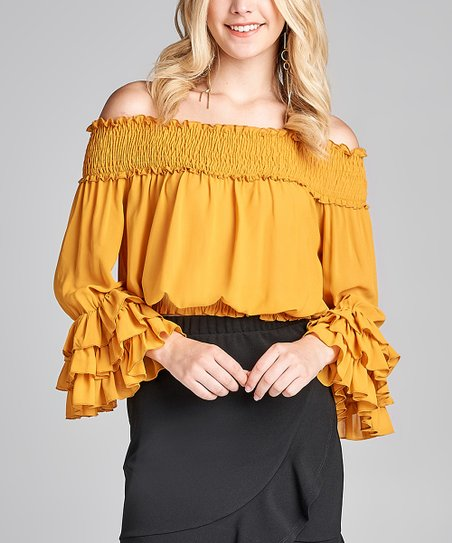 f77b892f078f6 love this product Mustard Ruffle-Sleeve Off-Shoulder Top - Juniors