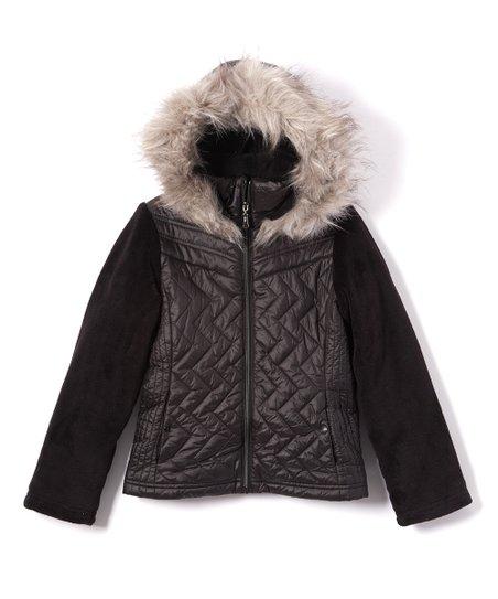 ba50d6383bb Gallery Black Quilted Faux Fur-Trim Hooded Ski Jacket - Girls