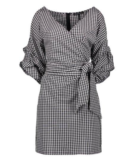 09e389b834 love this product Black   White Gingham Wrap Dress - Plus