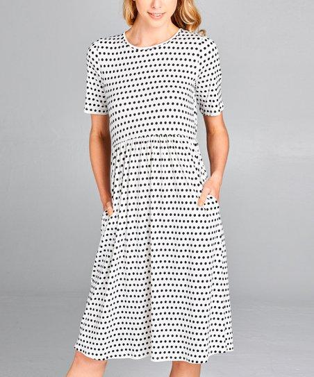 e2e79019e865 Spicy Mix Black & White Polka Dot Pocket Midi Dress - Women | Zulily